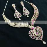 Pink Color Blossomy Heart Gold Plated American Diamond Jewelry Necklace Earrings Set