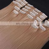 HIGH QUALITY easy clips hair extensions for white women FACTORY HAIR SUPPLIER WHOLESALE PRICE