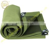 Durable canvas rainproof cloth with coating cotton cloth  military green tarpaulin