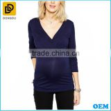 New trendy wholesale long sleeve wrap maternity blouse and top for pregnant women