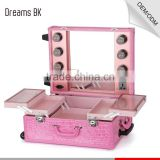 New Hot Sell Professional Rolling Wheeled Trolley makeup case High Quality PVC Makeup Cases with Carry Bar