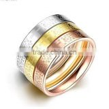 Women's 316l Stainless Steel Tri-Color Stackable Set Bible Lords Prayer Cross Wedding Rings Band