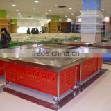 Supermarket stainless steel cooling table ice fresh cooler box table cooler table