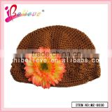 April new products baby hat soft material crochet bucket hat with flower decoration