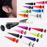 Blackline Surgical Steel Tapers fake piercing jewelry , clear acrylic stretching ear taper