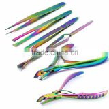 Professional Titanium Cuticle Nippers Magic Wand Eyelash Tweezers Manicure