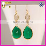Beautiful natural moonstone and green onyx gold fish hook gemstone pendant earring for women