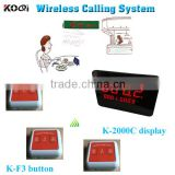 Wireless Buzzer Call System Restaurant With 100% Waterproof Table Bell K-F3-WO And Waiter Kitchen Number Display K-2000C CE