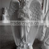European style white marble angel statue for tombstone