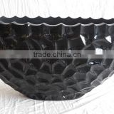 luxury decorative lacquerware vase, carved design in black lacquer large size