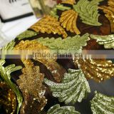 sequin embroidery cloth;3mm+3mm gold embroidery clothdress, home textile toys crafts weding use
