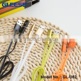 Gleese Multi-function 2 in 1 Fast Charge Micro USB Data Cable Flat Noodle Crystral Side Cable for Android Ipad
