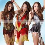 2016 New Ballroom Dance Dress Samba Costume for Women Sexy Leopard Print Salsa Dresses with Tassels Latin Dress