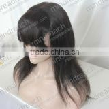 "Hot selling beauty style 14"" 1b# silk straight human hair glueless full lace wig with bang,accept escrow payment"