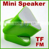 Green Mini 3D Sound USB FM Speaker TF Card LED Radio Audio Music Rotatable Player