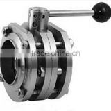 Welded Three-Piece Butterfly Valve (304/304L/316L) For food , drinking, oil etc industrial