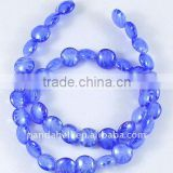 Handmade Inner Silk Lampwork Beads, DeepSkyBlue, Flat Round, about 13mm in diamter, 6mm, hole: 1.5mm, 500pcs/bag.(LAMP-R013)