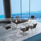 Dining room furniture aluminum brush ps-wooden dining table and chair