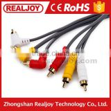 3RCA to 90 degree 3RCA coaxial male to male for TV DVD audio video av Cable