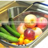 Over the sink Stainless Steel Mesh Fruit Colander strainer with Extending Rubber-Grip Arms