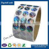 Polyester material round laser hologram self adhesive security VOID hologram label for sealing