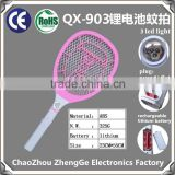 QX903-1 rechargeable mosquito racket fly swatter with round or flat plug lithium battery operated