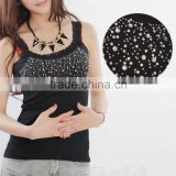 Vest Shirt Lace Sleeveless Sexy Fashion Women Elegant Collar Bling Tank Tops
