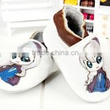 white and pink color handmade Moccs leather toddler shoes anna frozen Leather Moccasins Baby Shoes