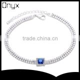 Guangdong 925 sterling silver link bracelet with blue ruby saphire stone