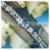 Pop top 2015 China wholesale new fashion bridal veil beaded trim for bridal accessory