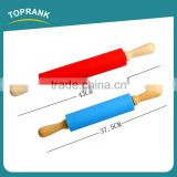 Toprank Wholesale Custom Colorful Used Noodle Flour Rolling Dough Decorative Rolling Pin Silicone Rubber Wooden Rolling Pin