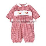 Baby Boys Red Gingham Smocked Reindeer Romper