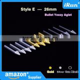 (MOQ:100pcs) High Quality Shoelace Gold/Silver/Gun Black Bullet Aglets - Lace Metal Bullet Aglet for Mids & Lows Trainers