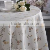 Creative white Table Cover customized Floral Printed Linen Fabric 70 inch round Tablecloth