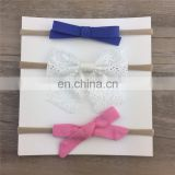 Hot selling kid's hair accessories handmade women's white bridal fabric hair bow