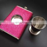 glitter pink alcohol drink pocket stainless steel whiskey hip flask