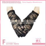Black Wrist Length Lace Gloves with Flower Pattern