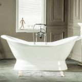 double slipper cast iron bathtub on pedestal