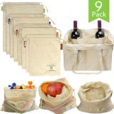 Produce Grocery Bags, 9Pack Reusable Shopping Vegetable Storage Bags Muslin Mesh Canvas Tote Organic Cotton Cloth Bags Eco-Friendly Net Zero Washable
