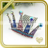Decorative blue and red crystal hair bobby pins rhinestone crown pins brooches FB-066