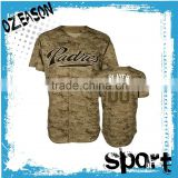 hot sell camo self-design logo and pattern baseball jersey for men/women competition training