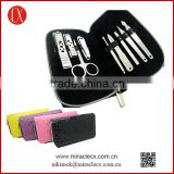 9pcs stainless steel manicure set shining colorful pouch luxury manicure set                                                                         Quality Choice