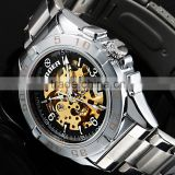 2015 New Skeleton Dial Skeleton Automatic Mechanical Watch Stainless Steel Sport Men Fashion Watches WM427