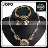 Top Hot Sale Women 18k Gold Plated Jewelry Sets Beautiful Luck Green Trendy Necklace Bracelet Earrings Ring Good Jewelry