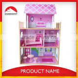 wooden barbie doll house and Hot selling Wooden doll house toy with doll house funiture