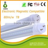 High luminous flux >80lm/w ballast compatible t8 led tube light 600mm 900mm 1200mm electronic magnetic tube