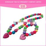 2016 new fashion design hot sale strawberry heart necklace bead love bracelet nigeria beads jewelry set
