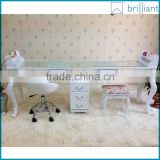 1705-2 Beauty wood with glass nail salon furniture table/manicure table t for 2 meter , 3 seats