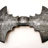 Damascus steel Double Axe blank blade/ Axe Head