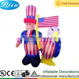 PATRIOTIC INFLATABLE 6' UNCLE SAM HOLDING AMERICAN FLAG WITH BALD EAGLE